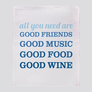 Good Friends Food Wine Throw Blanket