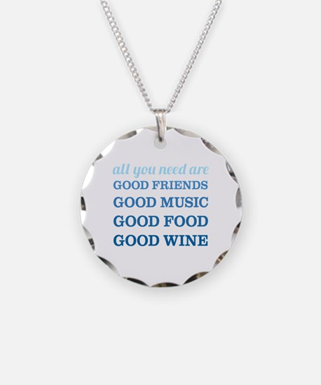 Good Friends Food Wine Necklace Circle Charm