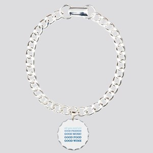 Good Friends Food Wine Charm Bracelet, One Charm