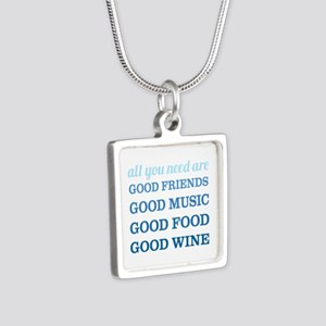 Good Friends Food Wine Silver Square Necklace