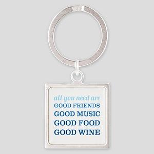 Good Friends Food Wine Square Keychain