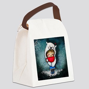 Bear Hug Mug Girl blue background Canvas Lunch Bag