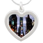New York Souvenir Times Silver Heart Necklace