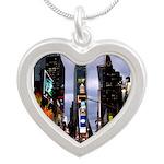 New York Souvenir Times Silver Heart Necklace