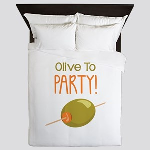 Olive To Party! Queen Duvet