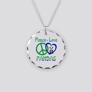 Peace Love Pandas Necklace Circle Charm