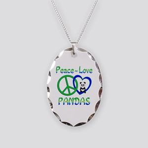 Peace Love Pandas Necklace Oval Charm