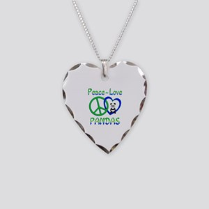 Peace Love Pandas Necklace Heart Charm