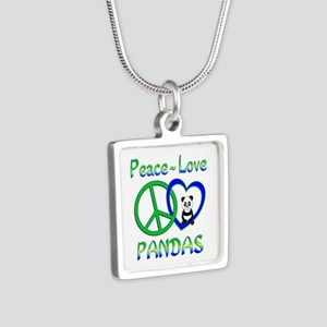 Peace Love Pandas Silver Square Necklace