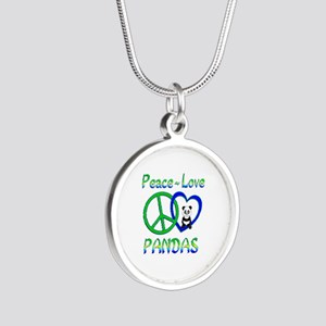 Peace Love Pandas Silver Round Necklace