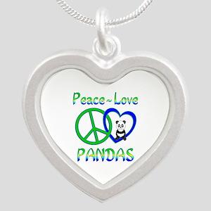 Peace Love Pandas Silver Heart Necklace
