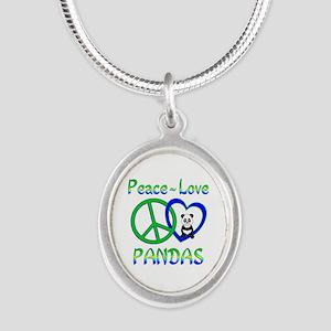 Peace Love Pandas Silver Oval Necklace