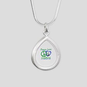 Peace Love Pandas Silver Teardrop Necklace