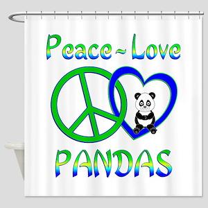 Peace Love Pandas Shower Curtain
