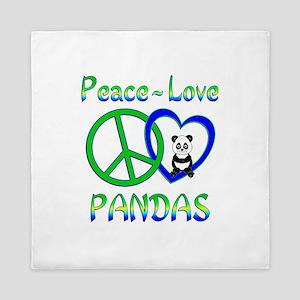 Peace Love Pandas Queen Duvet