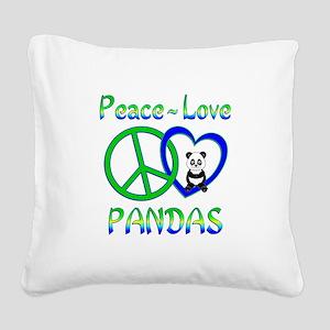 Peace Love Pandas Square Canvas Pillow