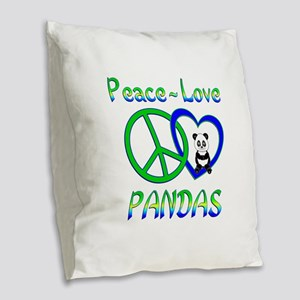 Peace Love Pandas Burlap Throw Pillow