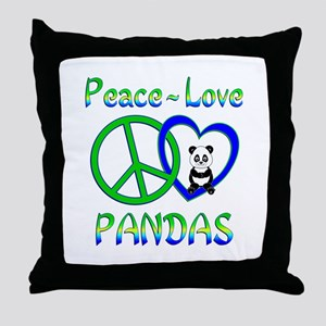 Peace Love Pandas Throw Pillow