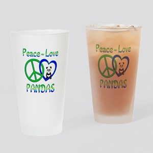 Peace Love Pandas Drinking Glass
