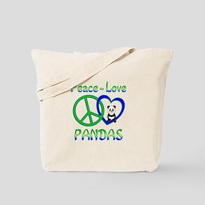Peace Love Pandas Tote Bag
