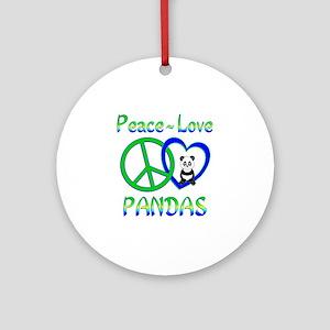 Peace Love Pandas Ornament (Round)
