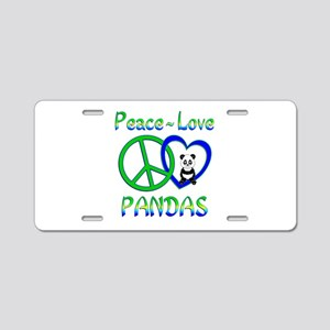 Peace Love Pandas Aluminum License Plate