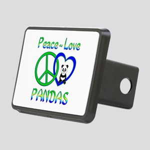 Peace Love Pandas Rectangular Hitch Cover