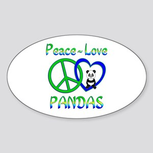 Peace Love Pandas Sticker (Oval)