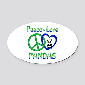 Peace Love Pandas Oval Car Magnet