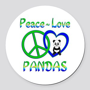 Peace Love Pandas Round Car Magnet
