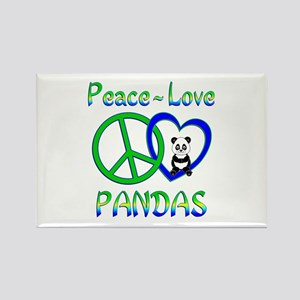 Peace Love Pandas Rectangle Magnet