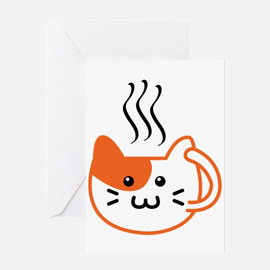 Calico Catpuccino Greeting Cards