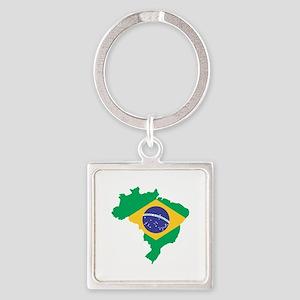 Brazilian Flag Map Keychains