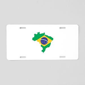 Brazilian Flag Map Aluminum License Plate