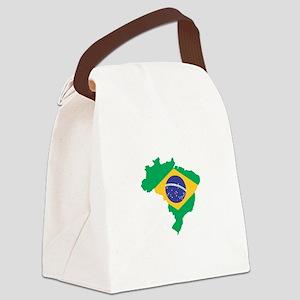 Brazilian Flag Map Canvas Lunch Bag
