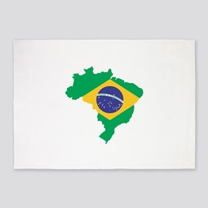Brazilian Flag Map 5'x7'Area Rug