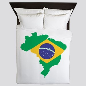 Brazilian Flag Map Queen Duvet