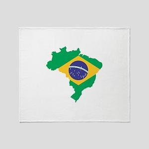 Brazilian Flag Map Throw Blanket