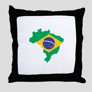 Brazilian Flag Map Throw Pillow