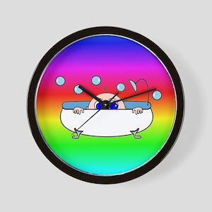 Baby Peeking Tub (Rainbow) Wall Clock
