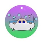 Baby Peeking Tub (Greens/blue) Ornament (Round)
