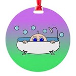 Baby Peeking Tub (Greens/blue) Ornament