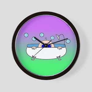 Baby Peeking Tub (Greens/blue) Wall Clock