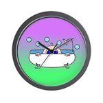 Baby Peeking Tub (Greens/blue) Wall Clock
