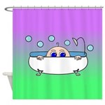 Baby Peeking Tub (Greens/blue) Shower Curtain