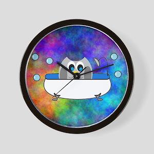 Cute Owl in Tub (Multi) Wall Clock
