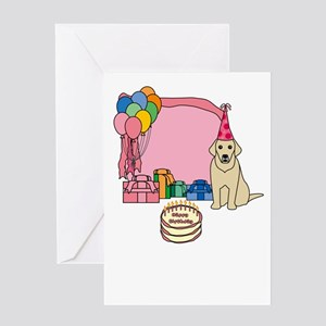 Yellow Lab Happy Birthday Cards (Pink) Greeting Ca