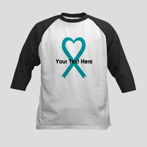 Personalized Teal Ribbon Heart Baseball Jersey