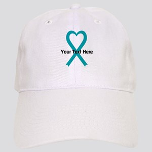 Personalized Teal Ribbon Heart Baseball Cap