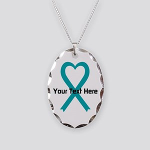Personalized Teal Ribbon Heart Necklace